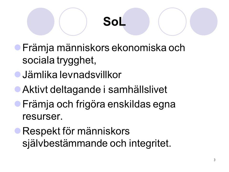 3 SoL Främja människors ekonomiska och sociala trygghet, Jämlika levnadsvillkor Aktivt deltagande i samhällslivet Främja och frigöra enskildas egna re