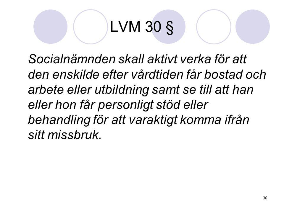 36 LVM 30 § Socialnämnden skall aktivt verka för att den enskilde efter vårdtiden får bostad och arbete eller utbildning samt se till att han eller ho