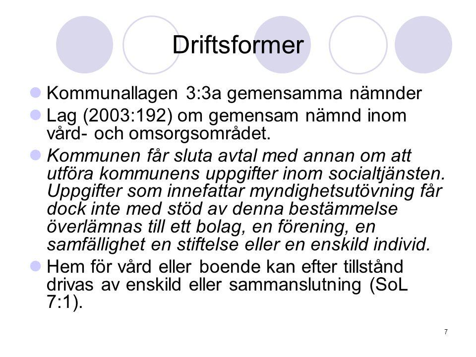 7 Driftsformer Kommunallagen 3:3a gemensamma nämnder Lag (2003:192) om gemensam nämnd inom vård- och omsorgsområdet. Kommunen får sluta avtal med anna