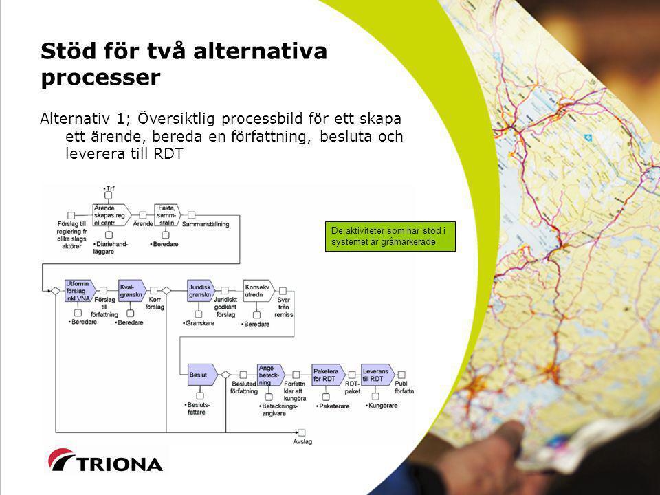 Stöd för två alternativa processer Alternativ 1; Översiktlig processbild för ett skapa ett ärende, bereda en författning, besluta och leverera till RDT De aktiviteter som har stöd i systemet är gråmarkerade