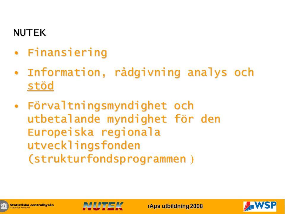 rAps utbildning 2007 rAps utbildning 2008 NUTEK FinansieringFinansiering Information, rådgivning analys och stödInformation, rådgivning analys och stöd Förvaltningsmyndighet och utbetalande myndighet för den Europeiska regionala utvecklingsfonden (strukturfondsprogrammenFörvaltningsmyndighet och utbetalande myndighet för den Europeiska regionala utvecklingsfonden (strukturfondsprogrammen )