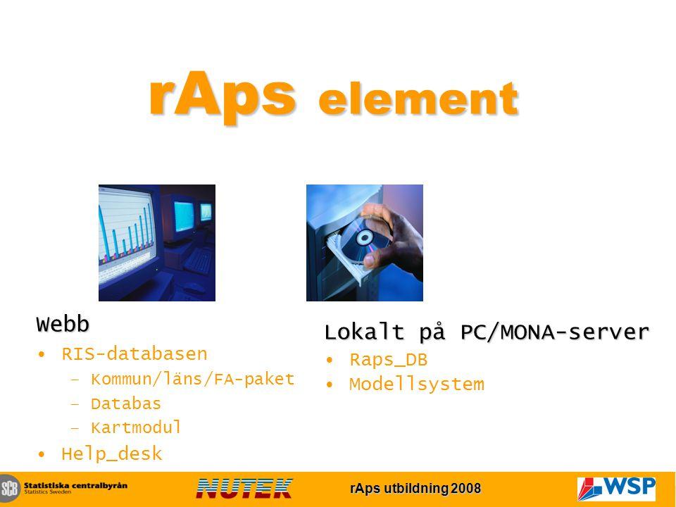 rAps utbildning 2007 rAps utbildning 2008 rAps element Webb RIS-databasen –Kommun/läns/FA-paket –Databas –Kartmodul Help_desk Lokalt på PC/MONA-server Raps_DB Modellsystem