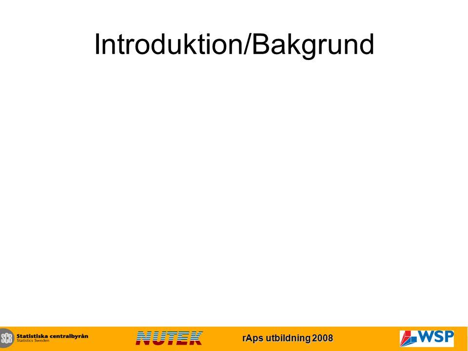 rAps utbildning 2007 rAps utbildning 2008 Introduktion/Bakgrund