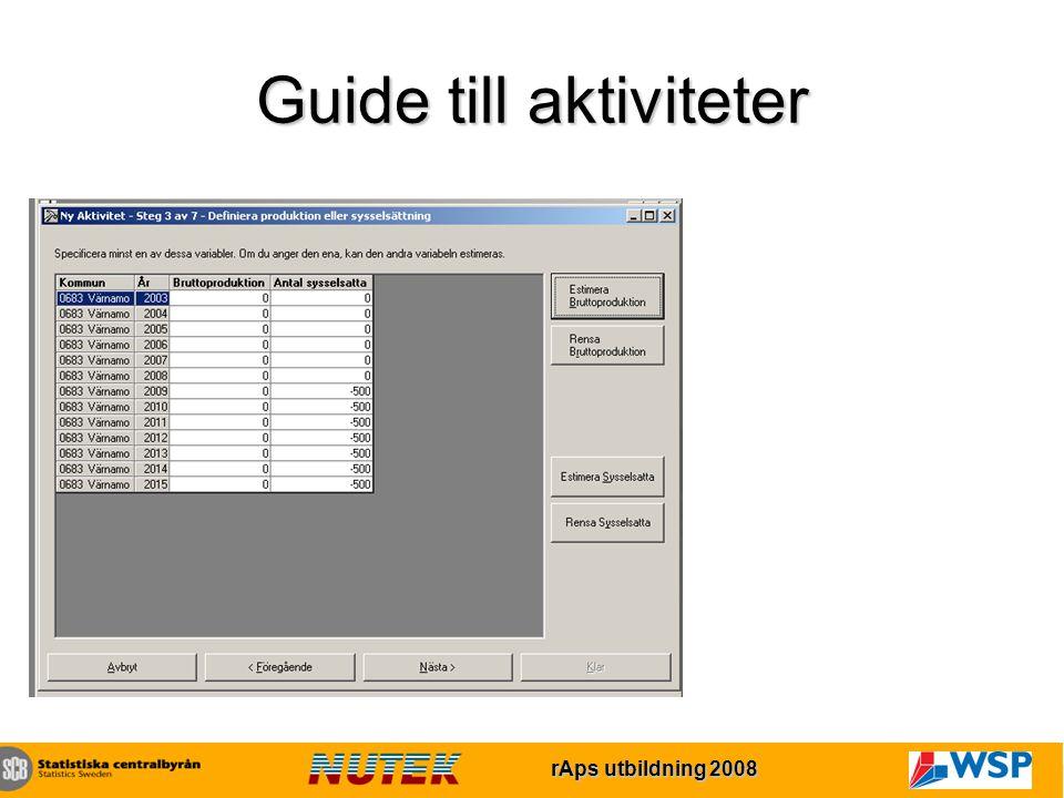 rAps utbildning 2007 rAps utbildning 2008 Guide till aktiviteter