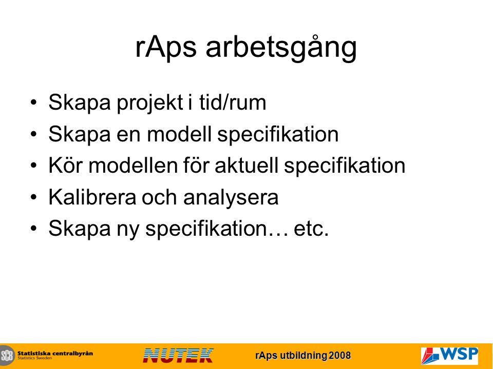 rAps utbildning 2007 rAps utbildning 2008 rAps arbetsgång Skapa projekt i tid/rum Skapa en modell specifikation Kör modellen för aktuell specifikation Kalibrera och analysera Skapa ny specifikation… etc.