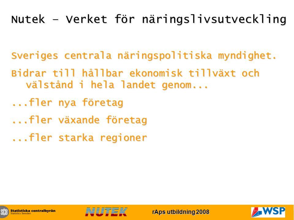rAps utbildning 2007 rAps utbildning 2008 Nutek – Verket för näringslivsutveckling Sveriges centrala näringspolitiska myndighet.