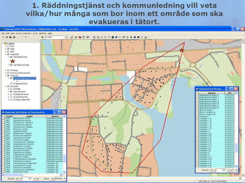 19 1. Räddningstjänst och kommunledning vill veta vilka/hur många som bor inom ett område som ska evakueras i tätort.