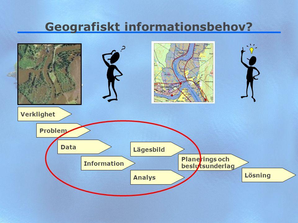 4 Geografiskt informationsbehov? VerklighetProblemDataLägesbildInformationAnalys Planerings och beslutsunderlag Lösning