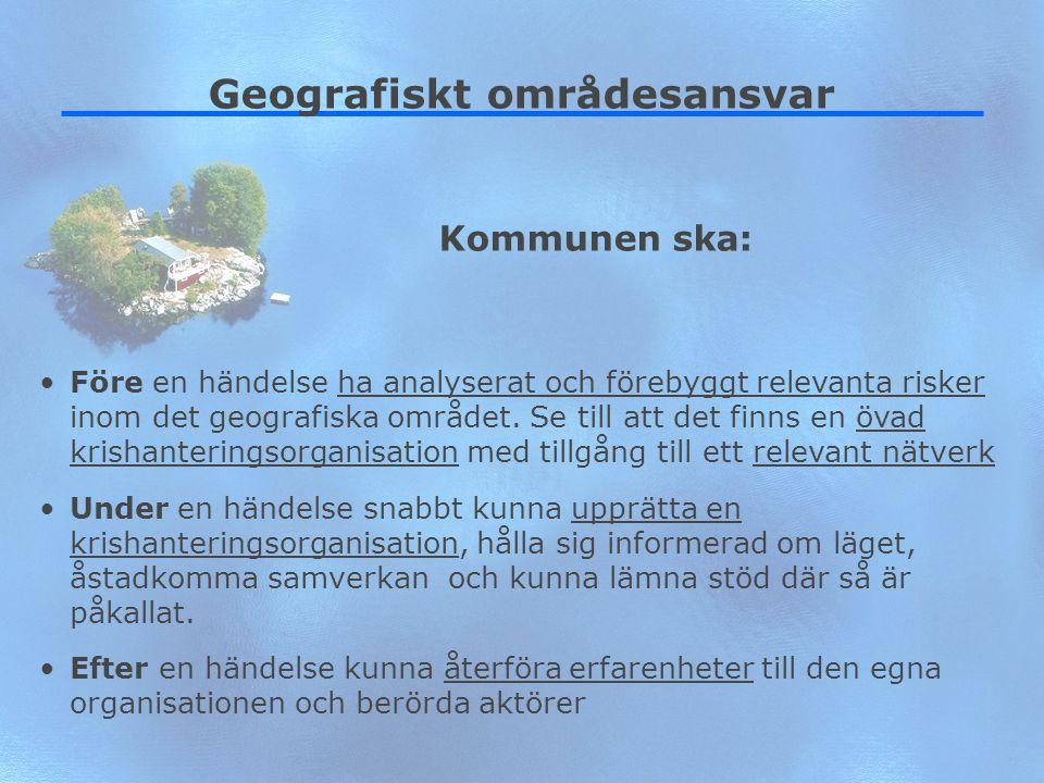 6 Geografiskt områdesansvar Före en händelse ha analyserat och förebyggt relevanta risker inom det geografiska området. Se till att det finns en övad