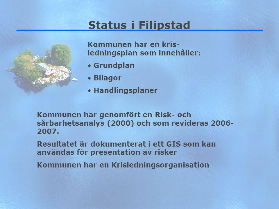 7 Status i Filipstad Kommunen har en kris- ledningsplan som innehåller: Grundplan Bilagor Handlingsplaner Kommunen har genomfört en Risk- och sårbarhe