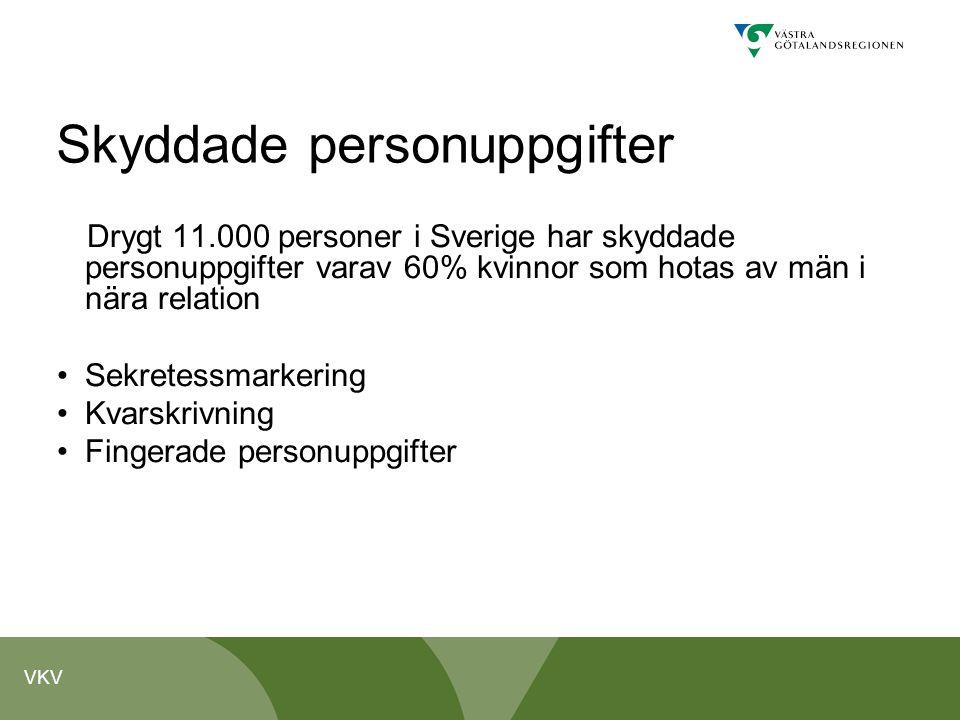 VKV Skyddade personuppgifter Drygt 11.000 personer i Sverige har skyddade personuppgifter varav 60% kvinnor som hotas av män i nära relation Sekretess