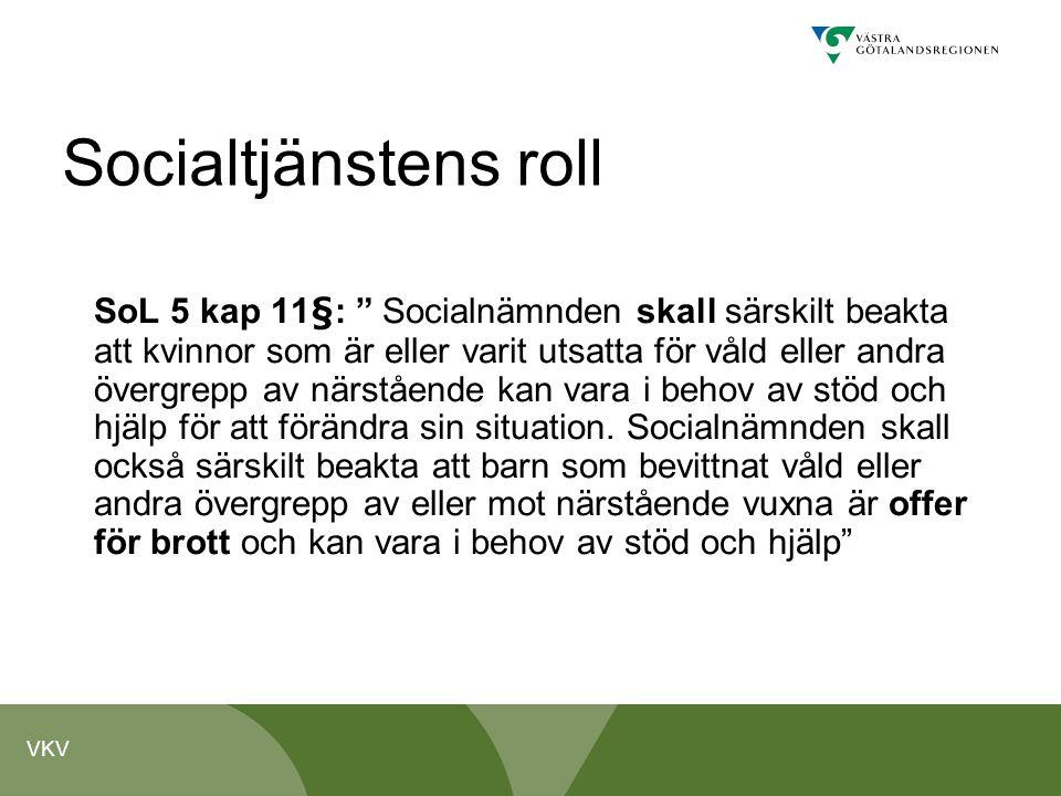 """VKV Socialtjänstens roll SoL 5 kap 11§: """" Socialnämnden skall särskilt beakta att kvinnor som är eller varit utsatta för våld eller andra övergrepp av"""