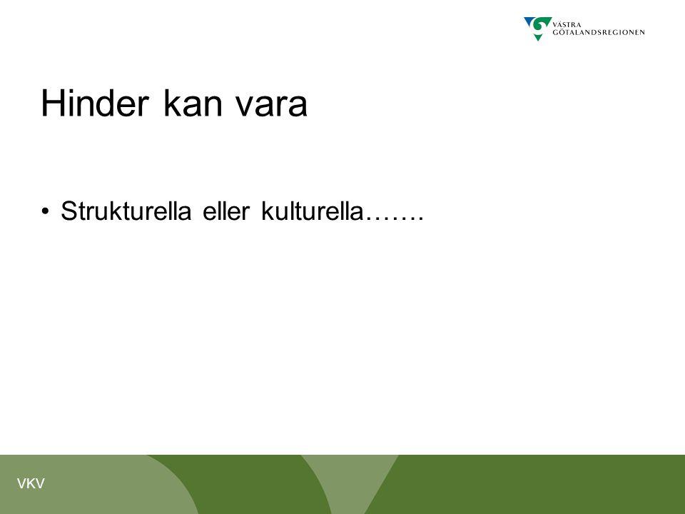 VKV Hinder kan vara Strukturella eller kulturella…….