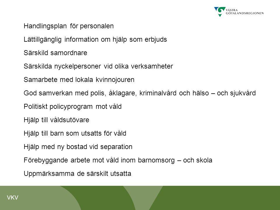 VKV Handlingsplan för personalen Lättillgänglig information om hjälp som erbjuds Särskild samordnare Särskilda nyckelpersoner vid olika verksamheter S