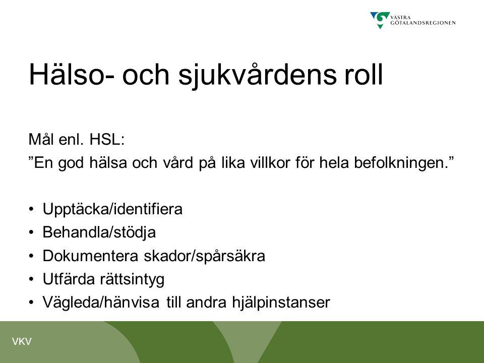 """VKV Hälso- och sjukvårdens roll Mål enl. HSL: """"En god hälsa och vård på lika villkor för hela befolkningen."""" Upptäcka/identifiera Behandla/stödja Doku"""