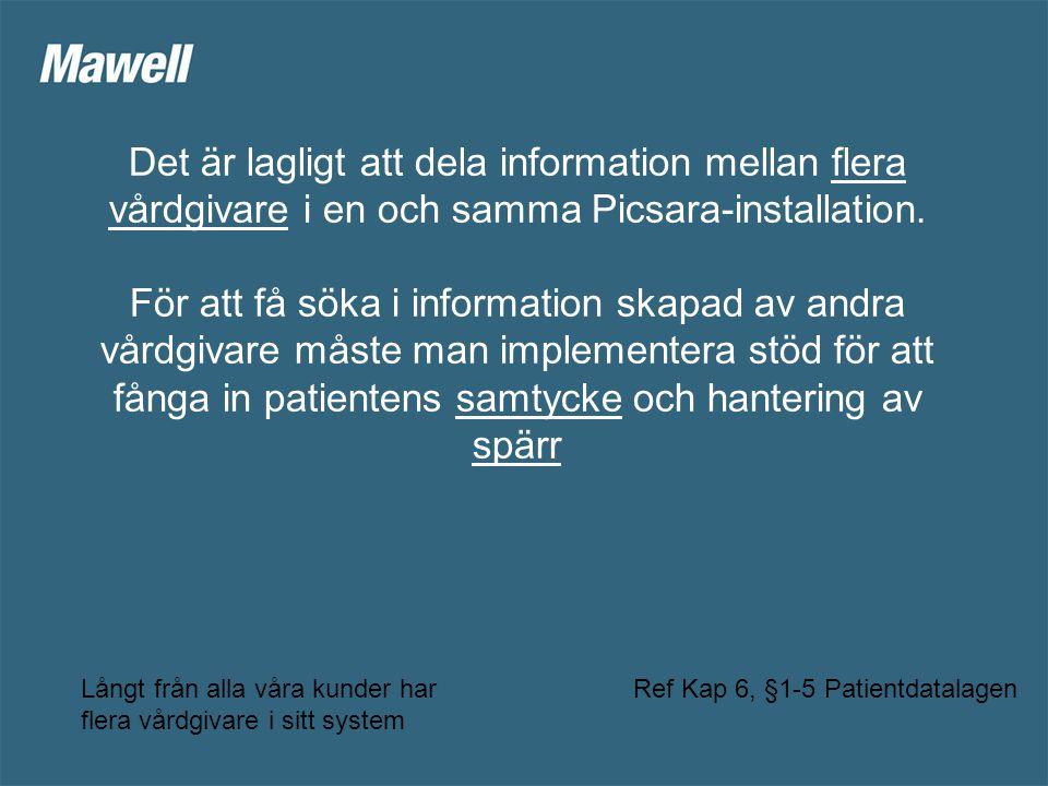 Det är lagligt att dela information mellan flera vårdgivare i en och samma Picsara-installation.