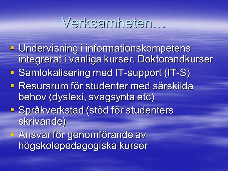 Verksamheten…  Undervisning i informationskompetens integrerat i vanliga kurser.