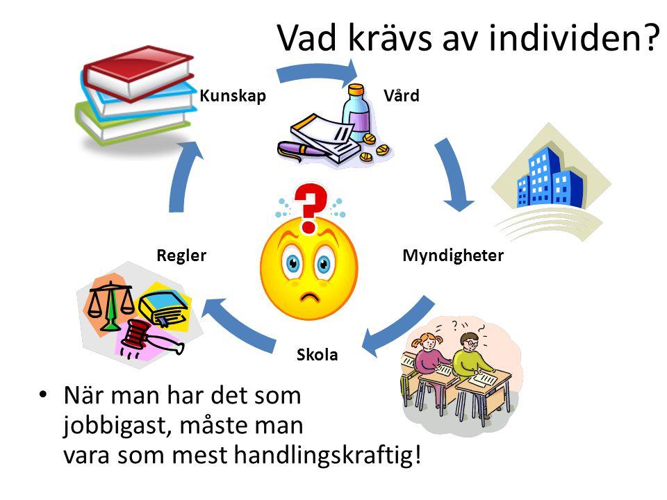 Vård Myndigheter Skola Regler Kunskap Vad krävs av individen? När man har det som jobbigast, måste man vara som mest handlingskraftig!