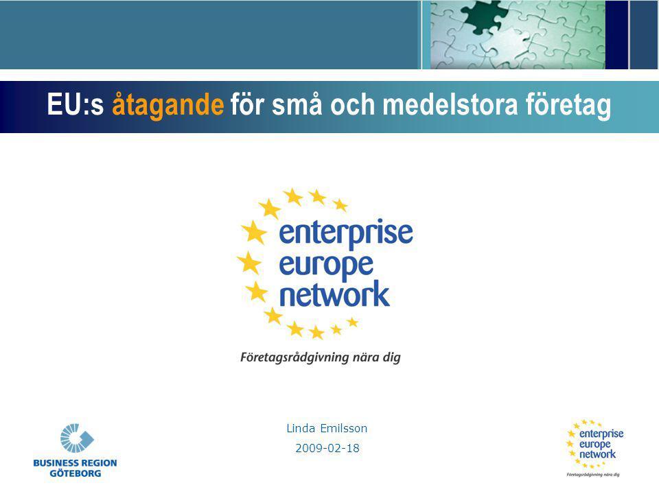 Linda Emilsson 2009-02-18 EU:s åtagande för små och medelstora företag