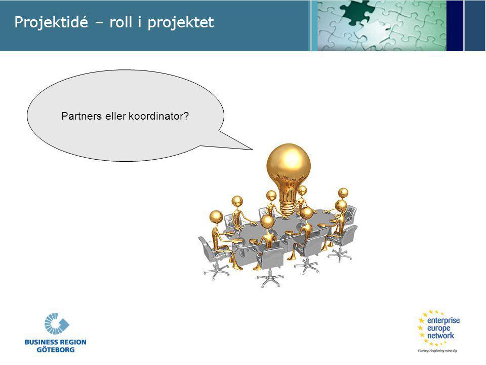 Projektidé – roll i projektet Partners eller koordinator?