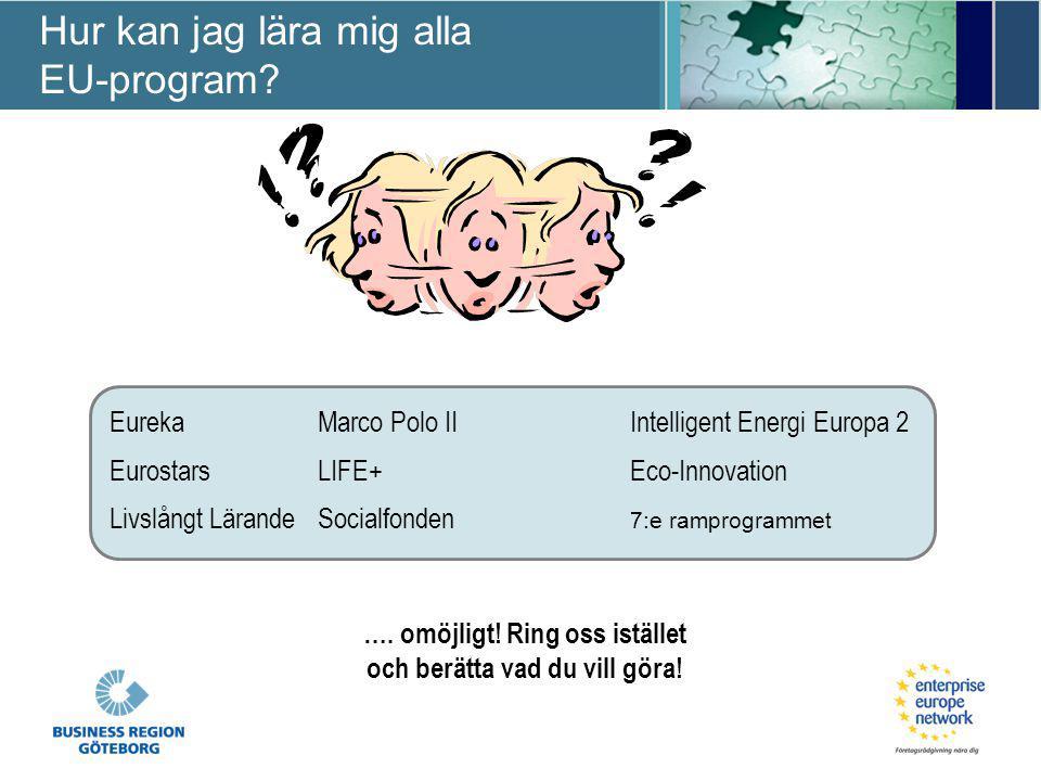 …. omöjligt! Ring oss istället och berätta vad du vill göra! EurekaMarco Polo IIIntelligent Energi Europa 2 EurostarsLIFE+Eco-Innovation Livslångt Lär