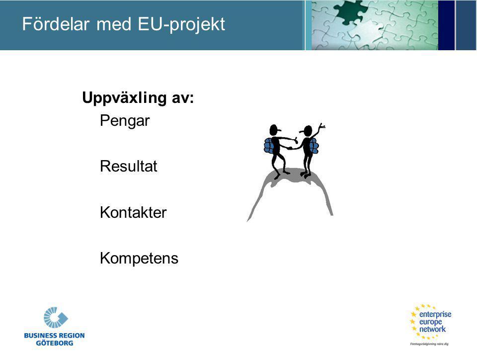 Fördelar med EU-projekt Uppväxling av: Pengar Resultat Kontakter Kompetens