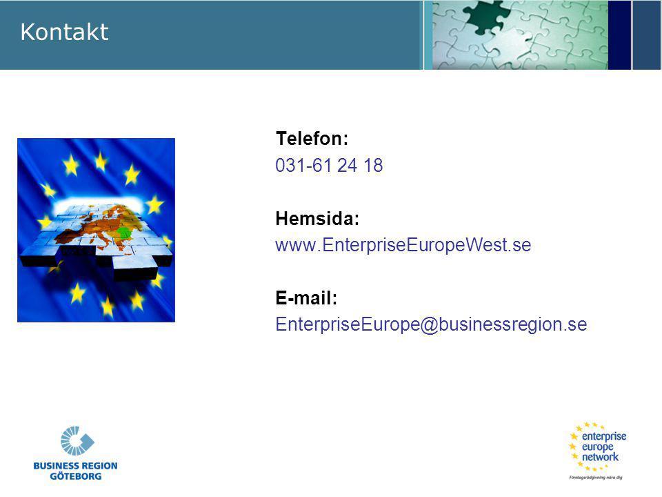 Kontakt Telefon: 031-61 24 18 Hemsida: www.EnterpriseEuropeWest.se E-mail: EnterpriseEurope@businessregion.se