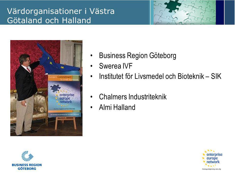 Värdorganisationer i Västra Götaland och Halland Business Region Göteborg Swerea IVF Institutet för Livsmedel och Bioteknik – SIK Chalmers Industritek