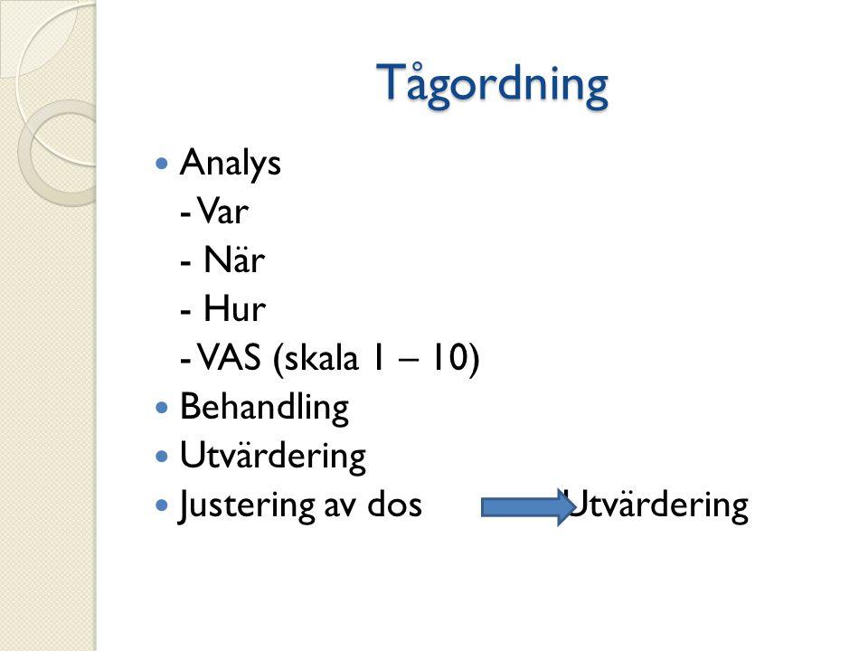 Tågordning Analys - Var - När - Hur - VAS (skala 1 – 10) Behandling Utvärdering Justering av dos Utvärdering