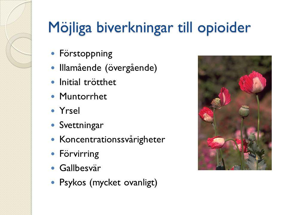 Möjliga biverkningar till opioider Förstoppning Illamående (övergående) Initial trötthet Muntorrhet Yrsel Svettningar Koncentrationssvårigheter Förvir