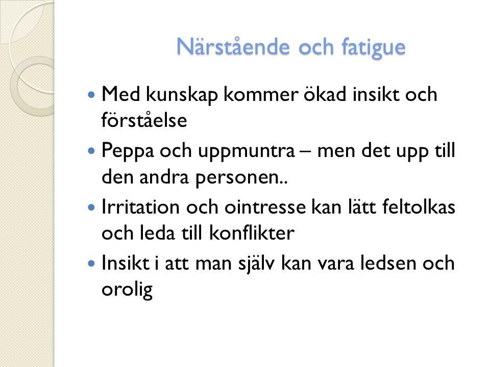 Förekommande symtom Feber Svårigheter att kissa Domningar/känselbortfall Trötthet (Fatigue) Smärta (ca 70%)