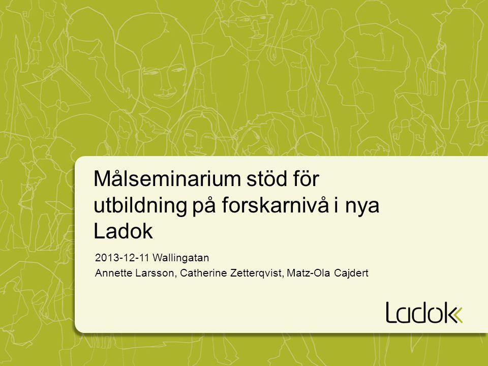 Målseminarium stöd för utbildning på forskarnivå i nya Ladok 2013-12-11 Wallingatan Annette Larsson, Catherine Zetterqvist, Matz-Ola Cajdert