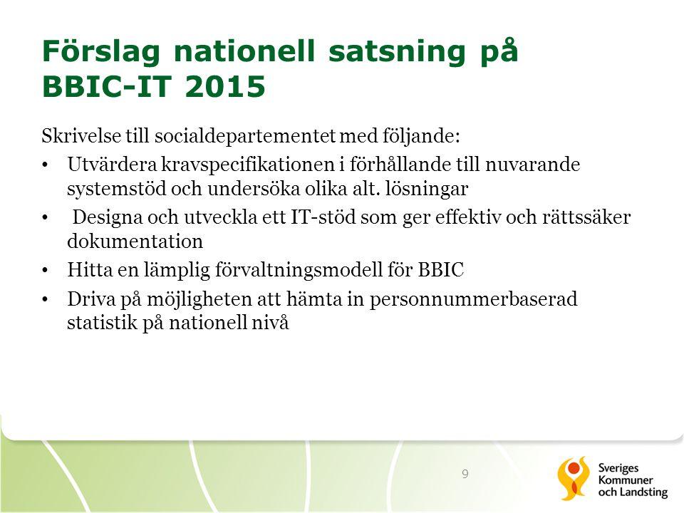 Förslag nationell satsning på BBIC-IT 2015 Skrivelse till socialdepartementet med följande: Utvärdera kravspecifikationen i förhållande till nuvarande