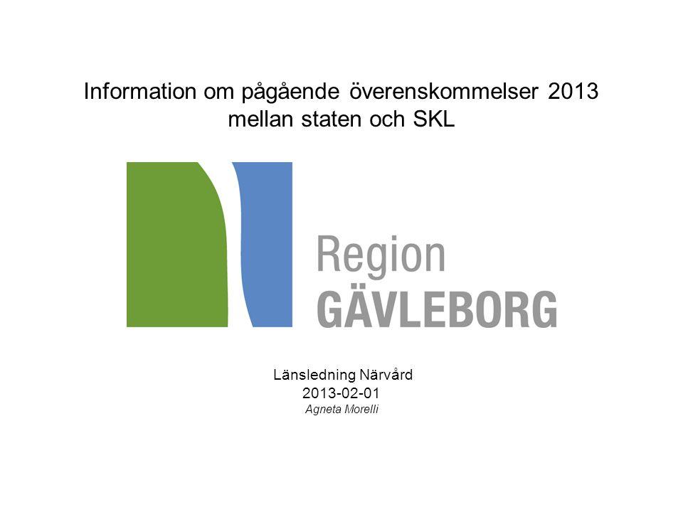 Information om pågående överenskommelser 2013 mellan staten och SKL Länsledning Närvård 2013-02-01 Agneta Morelli