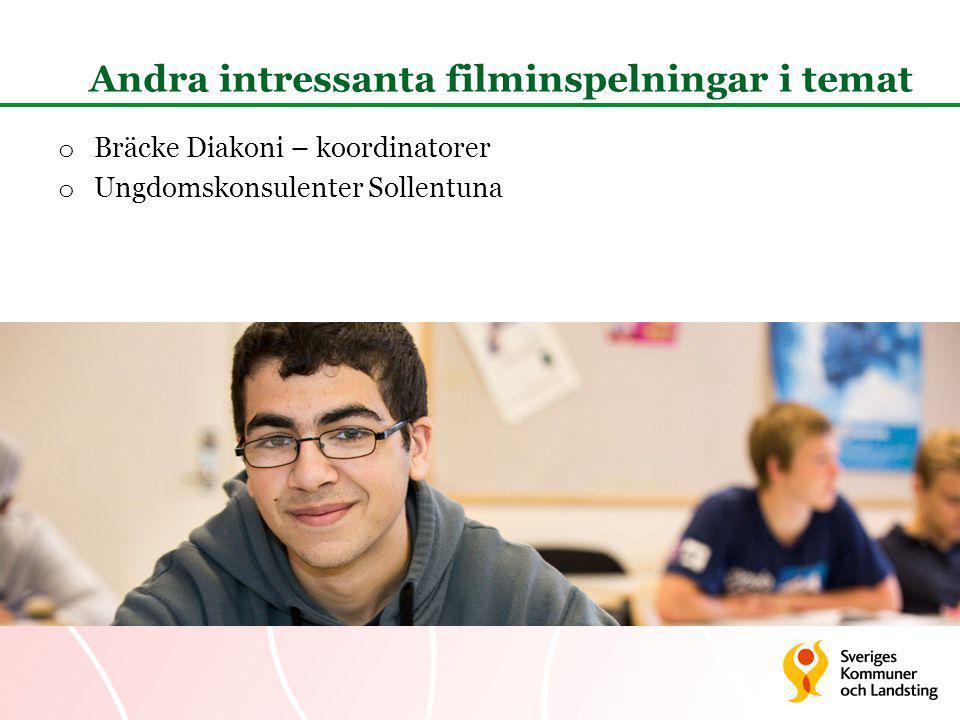 Andra intressanta filminspelningar i temat o Bräcke Diakoni – koordinatorer o Ungdomskonsulenter Sollentuna