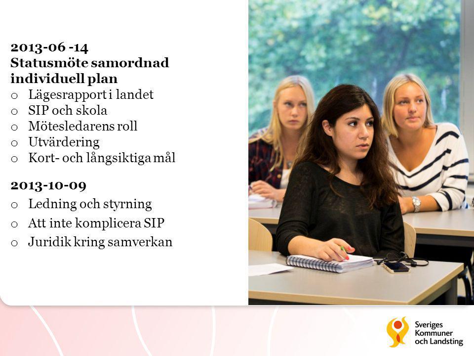 2013-10-09 o Ledning och styrning o Att inte komplicera SIP o Juridik kring samverkan 2013-06 -14 Statusmöte samordnad individuell plan o Lägesrapport i landet o SIP och skola o Mötesledarens roll o Utvärdering o Kort- och långsiktiga mål