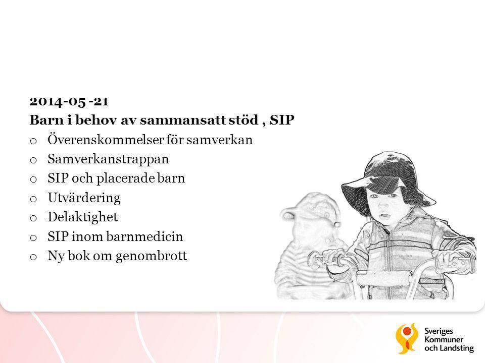 2014-05 -21 Barn i behov av sammansatt stöd, SIP o Överenskommelser för samverkan o Samverkanstrappan o SIP och placerade barn o Utvärdering o Delaktighet o SIP inom barnmedicin o Ny bok om genombrott