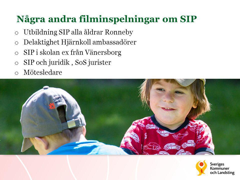 Några andra filminspelningar om SIP o Utbildning SIP alla åldrar Ronneby o Delaktighet Hjärnkoll ambassadörer o SIP i skolan ex från Vänersborg o SIP och juridik, SoS jurister o Mötesledare