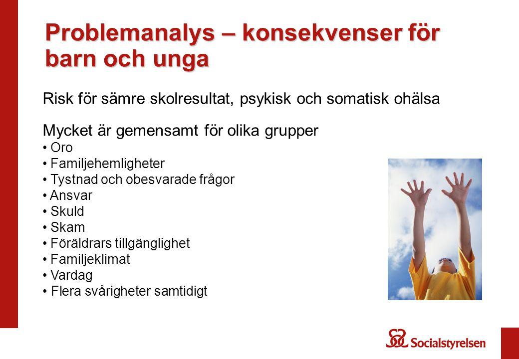 Problemanalys – konsekvenser för barn och unga Risk för sämre skolresultat, psykisk och somatisk ohälsa Mycket är gemensamt för olika grupper Oro Fami