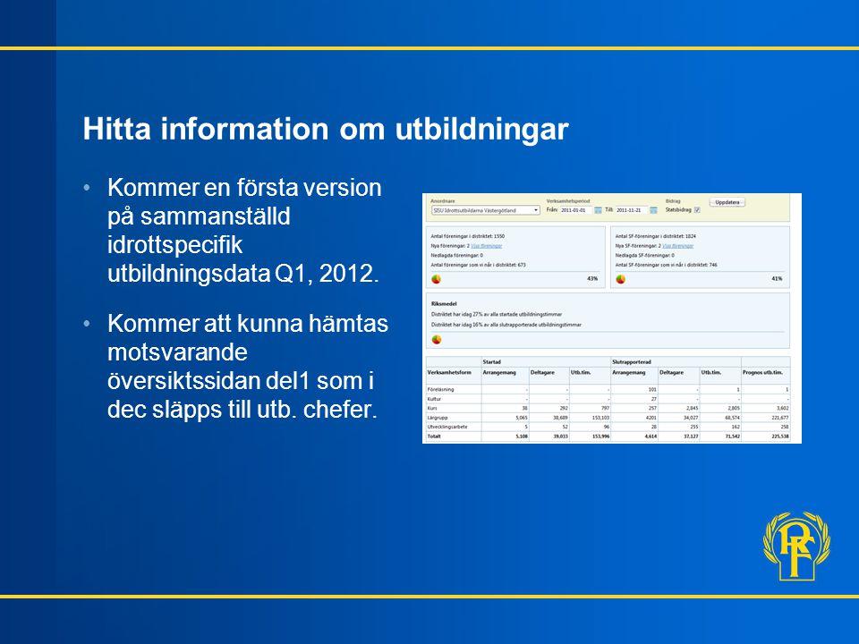 Hitta information om utbildningar Kommer en första version på sammanställd idrottspecifik utbildningsdata Q1, 2012.