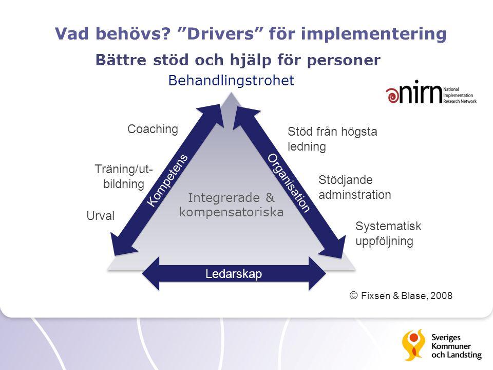"""Vad behövs? """"Drivers"""" för implementering Integrerade & kompensatoriska Integrerade & kompensatoriska Kompetens Organisation Ledarskap Coaching Träning"""