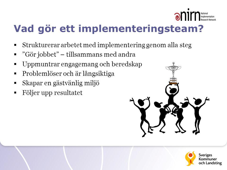 """Vad gör ett implementeringsteam?  Strukturerar arbetet med implementering genom alla steg  """"Gör jobbet"""" – tillsammans med andra  Uppmuntrar engagem"""