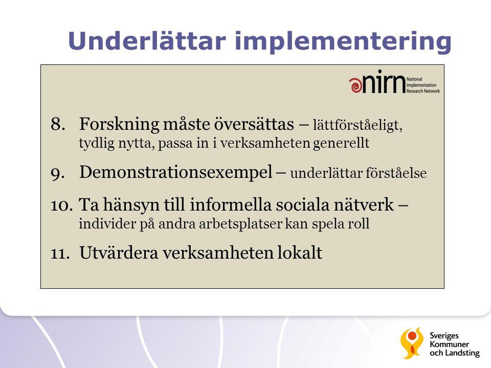 Underlättar implementering 8.Forskning måste översättas – lättförståeligt, tydlig nytta, passa in i verksamheten generellt 9.Demonstrationsexempel – underlättar förståelse 10.Ta hänsyn till informella sociala nätverk – individer på andra arbetsplatser kan spela roll 11.Utvärdera verksamheten lokalt