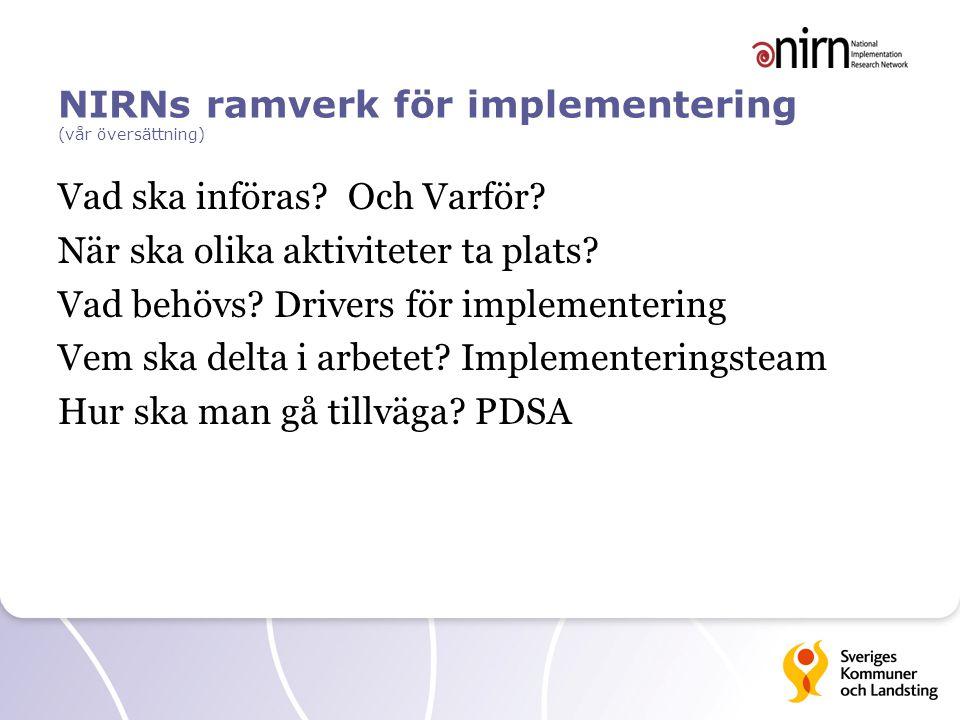 NIRNs ramverk för implementering (vår översättning) Vad ska införas? Och Varför? När ska olika aktiviteter ta plats? Vad behövs? Drivers för implement