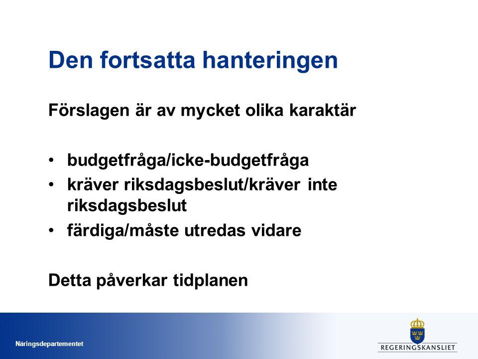 Näringsdepartementet Den fortsatta hanteringen Förslagen är av mycket olika karaktär budgetfråga/icke-budgetfråga kräver riksdagsbeslut/kräver inte ri