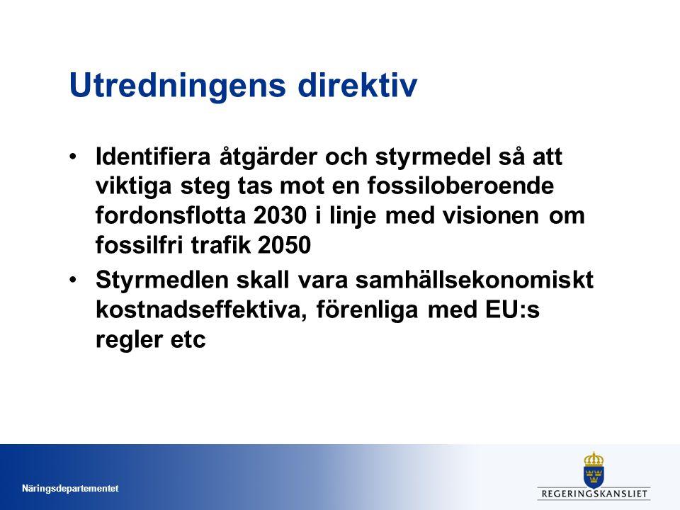 Näringsdepartementet Fem identifierade åtgärdsområden 1.Omställning mot minskade och effektivare transporter 2.Infrastrukturåtgärder och byte av trafikslag 3.Effektivare fordon 4.Eldrift 5.Biodrivmedel