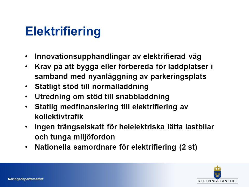 Näringsdepartementet Elektrifiering Innovationsupphandlingar av elektrifierad väg Krav på att bygga eller förbereda för laddplatser i samband med nyan