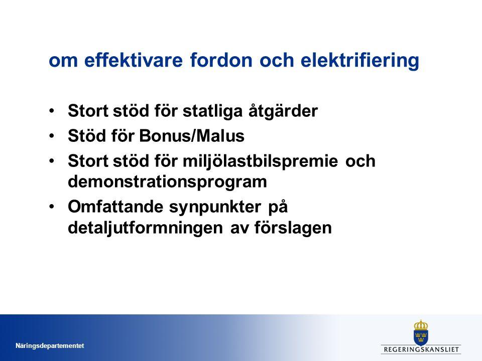 Näringsdepartementet om effektivare fordon och elektrifiering Stort stöd för statliga åtgärder Stöd för Bonus/Malus Stort stöd för miljölastbilspremie