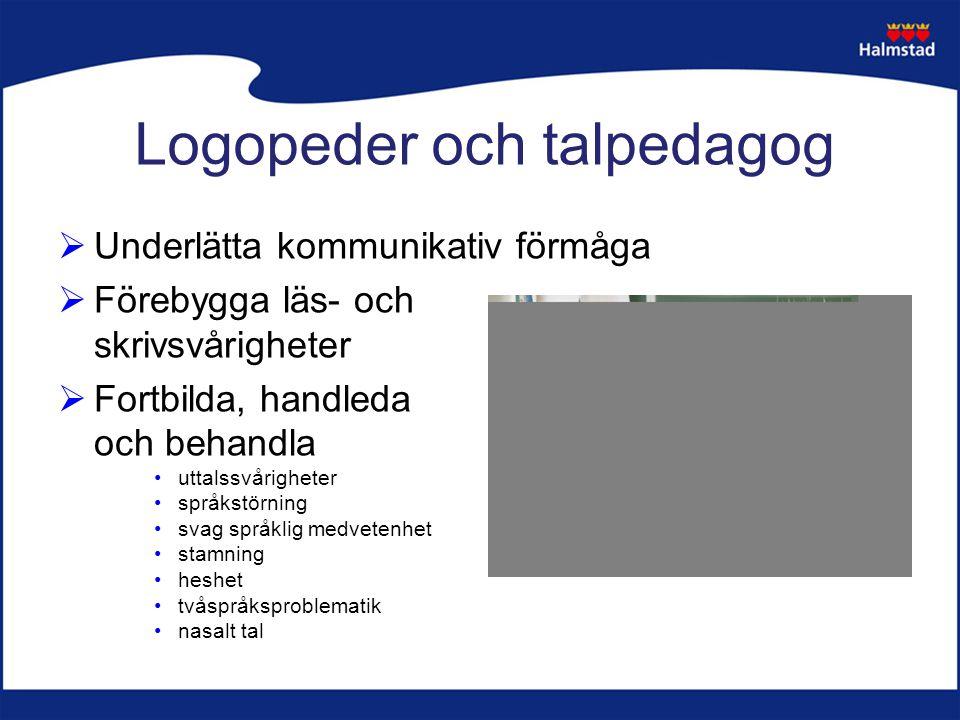 Logopeder och talpedagog  Underlätta kommunikativ förmåga  Förebygga läs- och skrivsvårigheter  Fortbilda, handleda och behandla uttalssvårigheter språkstörning svag språklig medvetenhet stamning heshet tvåspråksproblematik nasalt tal