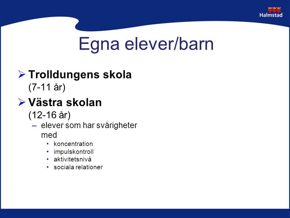 Egna elever/barn  Trolldungens skola (7-11 år)  Västra skolan (12-16 år) –elever som har svårigheter med koncentration impulskontroll aktivitetsnivå sociala relationer